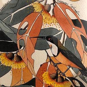 Airport Art - Ros Johnsson - Gum Leaves & Eastern Spinebill
